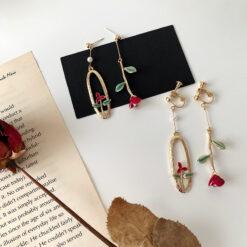 [925銀針]復古玫瑰珍珠耳環
