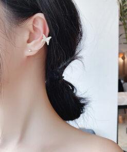 [925銀針]個性鋯石蝴蝶耳釘