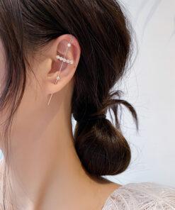 [鋼針]個性鋯石耳骨夾式耳釘
