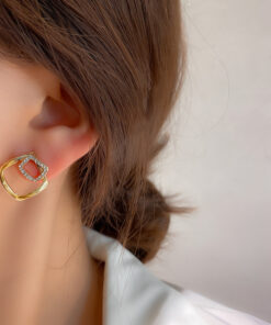 [925銀針]簡約幾何方形耳釘