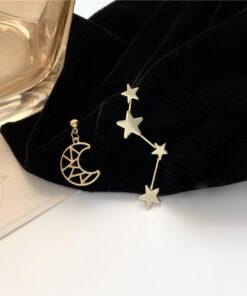 [925銀針]氣質星星月亮耳釘