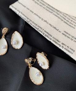 [鋼針]復古貝殼珍珠耳釘
