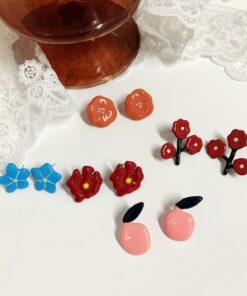 [鋼針]簡約水果花朵耳環