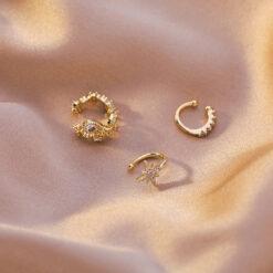 [耳骨夾]復古水滴花朵芒星耳夾