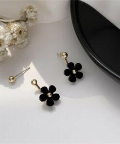 [925銀針]復古黑色花朵耳釘