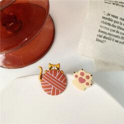 [鋼針]可愛滴油貓咪耳環