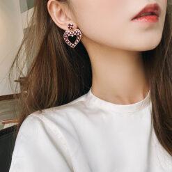 [鋼針]復古波點愛心形耳環
