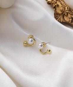 [鋼針]復古弧形珍珠耳環