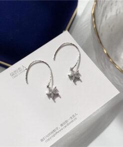 [鋼針]小清新鋯石花朵耳環