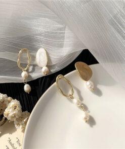 [925銀針]不對稱珍珠耳環