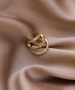 [耳骨夾]鏤空三層鋯石耳骨夾