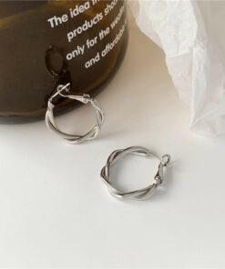 [925銀針]復古麻花耳環