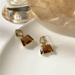 [925銀針]復古不規則水晶耳環