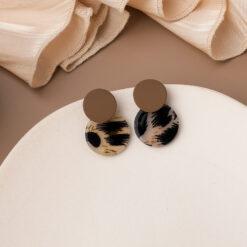 [鋼針]個性豹紋耳環