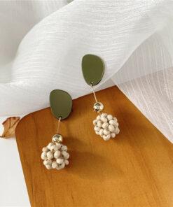 [925銀針]復古木珠球耳環