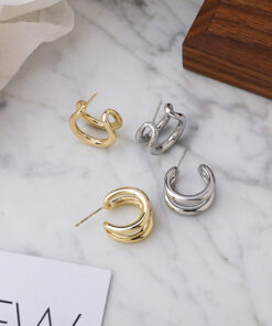 [925銀針]氣質雙層金屬耳環