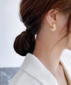 [925銀針]個性方塊水晶耳環