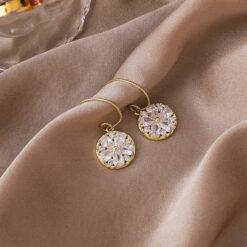 [鋼針]氣質鋯石花朵耳環