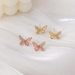 [鋼針]設計鋯石蝴蝶耳釘