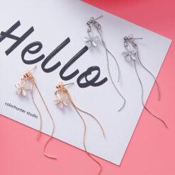 [鋼針]時尚水鉆花朵耳環