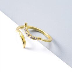 [925純銀]簡約月牙鑲鉆戒指