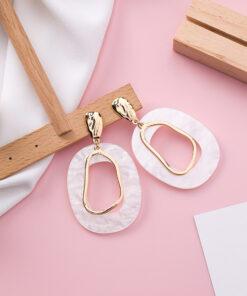 [925銀針]氣質貝殼幾何耳環