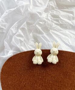 [鋼針]可愛搞怪兔子耳釘