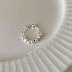 [925純銀]簡約磨砂珠戒指