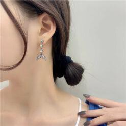 耳釘[925銀針]個性人魚尾滿鉆耳釘