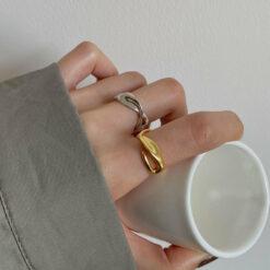[925純銀]小眾設計扭曲戒指