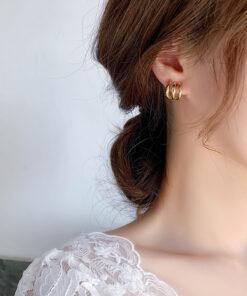 [925銀針]簡約金屬弧形耳環