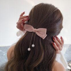 淑女蝴蝶結珍珠髪夾