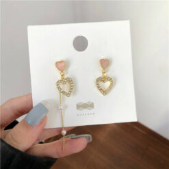[925銀針]甜美流蘇愛心耳環