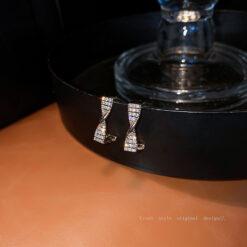 [925銀針]氣質鑲鉆方形耳釘