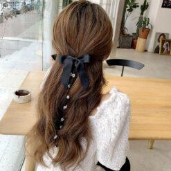絲絨雙層蝴蝶結髪夾