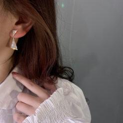 [925銀針]氣質滿鉆三角形耳環