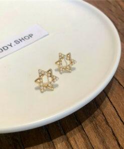 [925銀針]簡約六角星珍珠耳釘