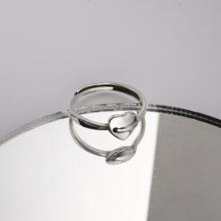 [925純銀]小眾愛心推拉戒指