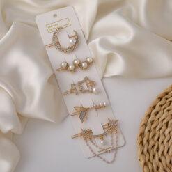 六芒星珍珠水鉆髪夾五件套