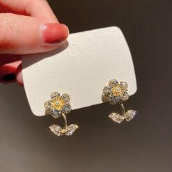 [925銀針]森系花朵葉子耳環