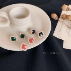 [鋼針]復古珍珠小香風耳環