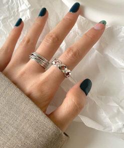 [925純銀]小眾鏤空編織戒指