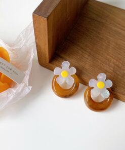 [鋼針]港風樹脂花朵耳環