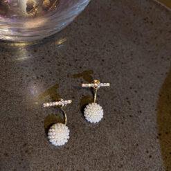 [925銀針]簡約珍珠球耳環