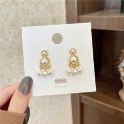 [925銀針]復古珍珠流蘇耳環