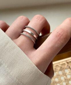 [925純銀]個性三層麻花戒指