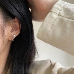 [925純銀]氣質珍珠魔方耳飾