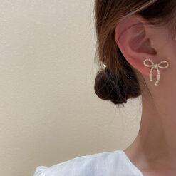 [925銀針]簡約蝴蝶結耳環