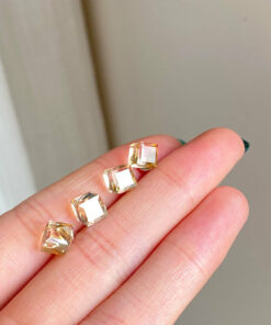[925純銀]小巧茶晶耳環