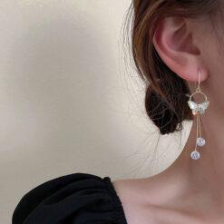 [鋼針]森系蝴蝶貝殼耳環